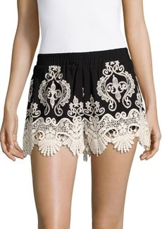 Romeo & Juliet Couture Banded-Waist Lace Shorts
