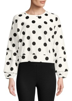 Romeo & Juliet Couture Boxy Crop Polka Dot Sweatshirt