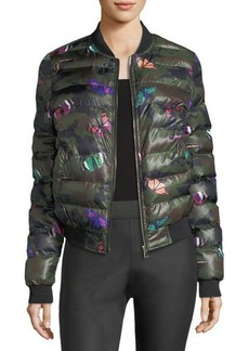 Romeo & Juliet Couture Camouflage and Butterfly Printed Puffer Jacket