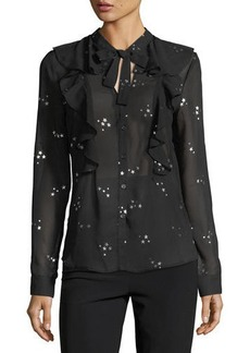Romeo & Juliet Couture Chiffon Metallic Star-Print Blouse