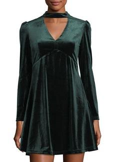 Romeo & Juliet Couture Choker-Neck Velvet Fit-&-Flare Dress