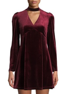 Romeo & Juliet Couture Choker-Neck Velvet Fit-&-Flare Dress