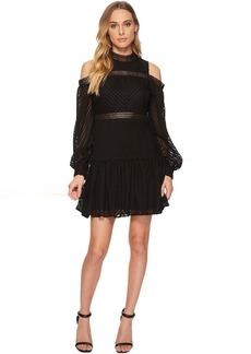 ROMEO & JULIET COUTURE Cold Shoulder Chiffon Dress w/ Lace Trim