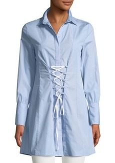 Romeo & Juliet Couture Collared Corset Lace-Up Shirtdress