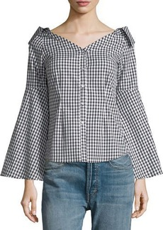 Romeo & Juliet Couture Collared Off-the-Shoulder Blouse