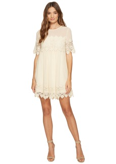 ROMEO & JULIET COUTURE Crochet Lace Dress with Mesh Neck