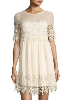 Romeo & Juliet Couture Crochet Lace-Inset Shift Dress