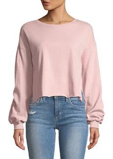 Romeo & Juliet Couture Cropped Balloon-Sleeve Sweatshirt
