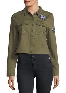 Romeo & Juliet Couture Denim Button-Front Butterfly-Patch Jacket