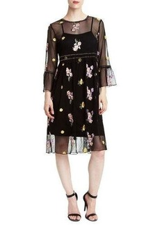 Romeo & Juliet Couture Dome-Studded Floral-Embroidered Illusion Dress
