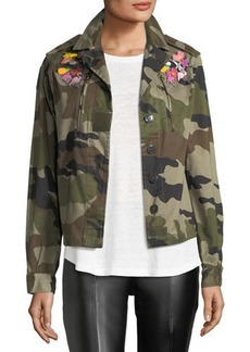 Romeo & Juliet Couture Embroidered Canvas Camo Utility Jacket