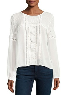 Romeo & Juliet Couture Embroidered-Eyelet Long-Sleeve Blouse