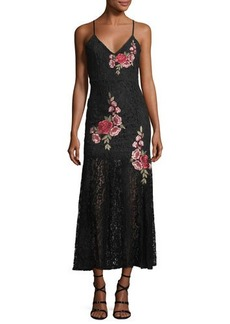 Romeo & Juliet Couture Embroidered Sheer-Skirt Maxi Dress