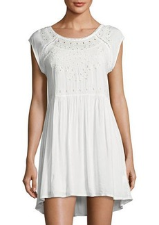 Romeo & Juliet Couture Eyelet-Trim Shift Dress