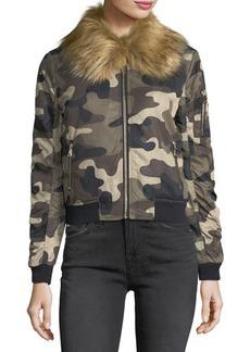Romeo & Juliet Couture Faux-Fur-Trim Camo Bomber Jacket