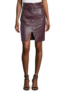 Romeo & Juliet Couture Faux-Leather High-Rise Belted Pencil Skirt