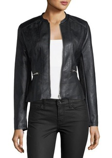 Romeo & Juliet Couture Faux-Leather Peplum Jacket