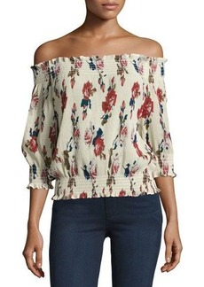 Romeo & Juliet Couture Floral-Chiffon Off-the-Shoulder Blouse