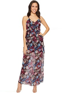 ROMEO & JULIET COUTURE Floral Chiffon Ruffled Maxi Dress