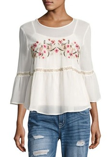 Romeo & Juliet Couture Floral-Embroidered Chiffon Blouse