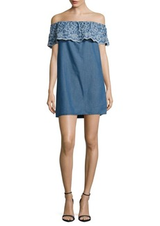 Romeo & Juliet Couture Floral Embroidered Denim Dress