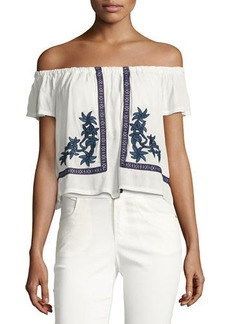 Romeo & Juliet Couture Floral-Embroidered Gauze Peasant Top