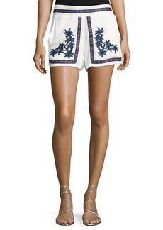 Romeo & Juliet Couture Floral-Embroidered Gauze Shorts