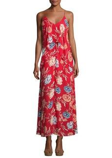 Romeo & Juliet Couture Floral-Print Chiffon Maxi Dress w/ Popover