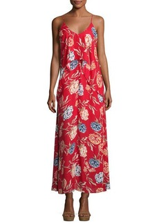Romeo & Juliet Couture Floral-Print Chiffon Maxi Dress w/ Popover