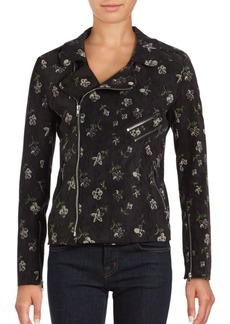 Romeo & Juliet Couture Floral Printed Asymmetric Zipper Jacket