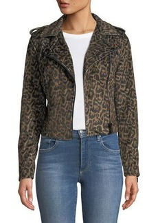 Romeo & Juliet Couture Leopard-Print Motorcycle Jacket