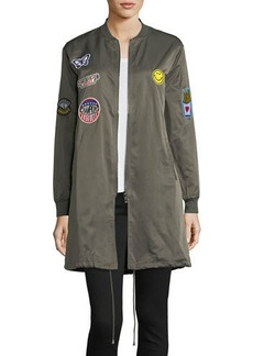 Romeo & Juliet Couture Long Patchwork Bomber Jacket