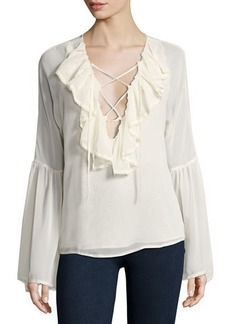Romeo & Juliet Couture Long-Sleeve Lace-Up Ruffled Blouse