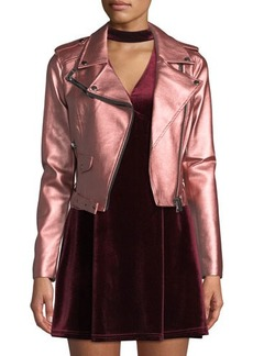 Romeo & Juliet Couture Matte Metallic Faux-Leather Motorcycle Jacket