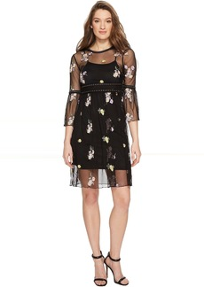 ROMEO & JULIET COUTURE Mesh and Embroidery Bell Sleeve Dress
