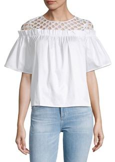 Romeo & Juliet Couture Mesh Ruffle Woven Top