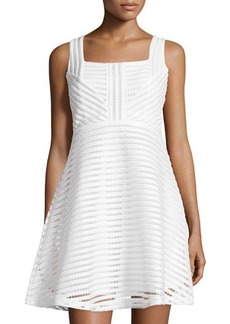 Romeo & Juliet Couture Mesh-Stripe Sleeveless Fit-&-Flare Dress