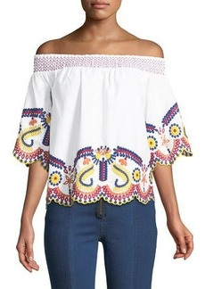 Romeo & Juliet Couture Off-The-Shoulder Embroidered Blouse
