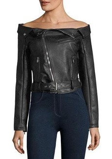 Romeo & Juliet Couture Off-the-Shoulder Faux-Leather Moto Jacket