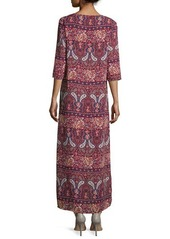 Romeo & Juliet Couture Paisley 3/4-Sleeve Side-Slit Duster