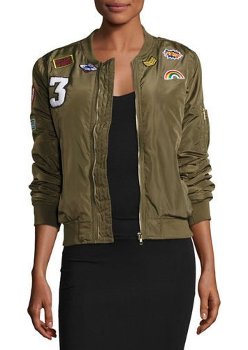 Romeo & Juliet Couture Patched Satin Bomber Jacket