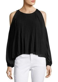 Romeo & Juliet Couture Pleated Chiffon Cold-Shoulder Blouse