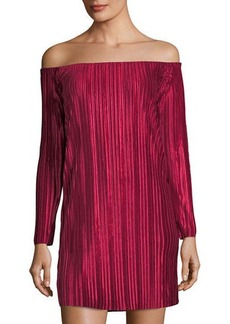 Romeo & Juliet Couture Pleated Velvet Off-the-Shoulder Dress