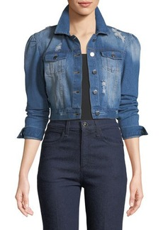 Romeo & Juliet Couture Puff-Sleeve Cropped Denim Jacket