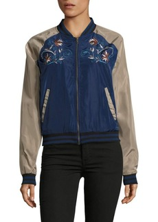 Romeo & Juliet Couture Raglan-Sleeve Embroidered Bomber Jacket
