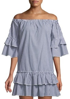 Romeo & Juliet Couture Ruffle-Tiered Striped Shift Dress
