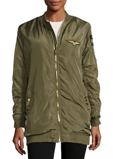 Romeo & Juliet Couture Satin Patched Bomber Jacket