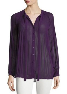 Romeo & Juliet Couture Self-Tie Neck Pleated-Yoke Blouse