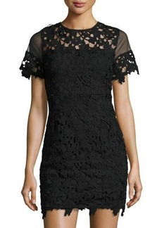 Romeo & Juliet Couture Short-Sleeve Embroidered Lace Dress Black