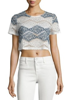 Romeo & Juliet Couture Short-Sleeve Lace Crop Top